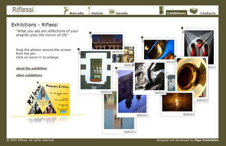 riflessi.co.uk exhibitions screenshot